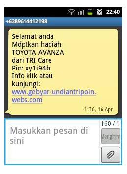 SMS Tipu menang hadiah