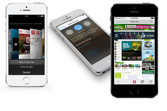 Tiga pilihan mode bagi Opera Mini 8 untuk pengguna iOS