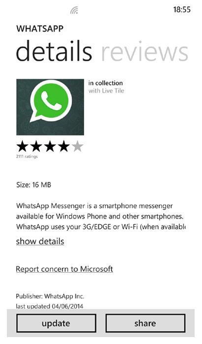 whatsApp untuk WP terbaru menu