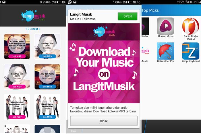 mengakses LangitMusik MP3 menggunakan BBM Shop