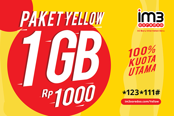 Paket Yellow IM3 Ooredoo - 1GB Rp1000 - 4Des2017 ok
