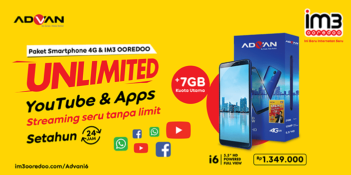 Foto 1_IM3 Ooredoo Unlimited YouTube & Apps dan Paket Smartphone 4G ok